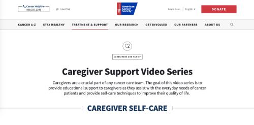 American Cancer Society Caregiver Support Web Series
