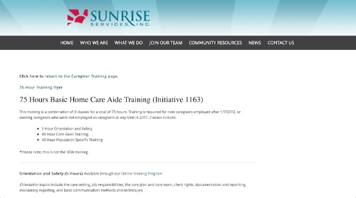 Sunrise Services-75 Hours Basic Home Care Aide Training-min