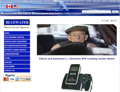 BlueWater Elderly and Alzheimers GPS Locator Watch.png